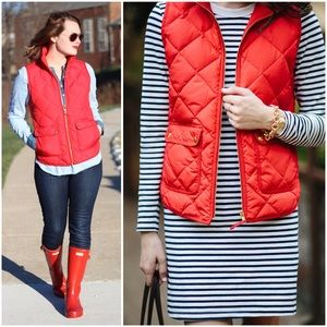 J. CREW Quilted Excursion Puffer Down Vest Red S